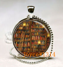 Vintage Library Book Cabochon Tibetan silver Glass Chain Pendant Necklace #518