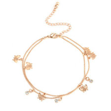 Hot Women Charm Gold Butterfly Ankle Double Chain Anklet Bracelet Foot Jewelry