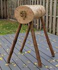 Rustic Western Saddle Stand Quilt Blanket Rack Brass Horse Wood Log OOAK Vintage