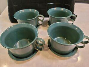 Bennington VT Pottery Trigger Handle Cup Soup Mug 1537 & Saucer 1538 Teal -Set 4
