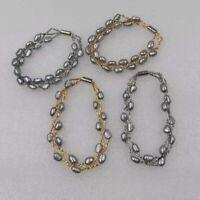 Genuine baroque gray cultured freshwater pearl bracelet 5-6mm 6-7mm