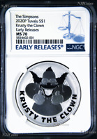 2020 Simpsons Krusty the Clown $1 1oz .9999 Silver COIN NGC MS70 ER Simpson