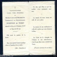 faire-part de décès   M.C.Henriette Thibault de Neuchaise Vicomtesse de Tudert