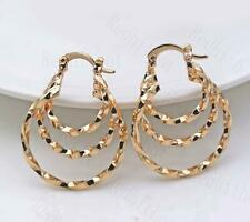 18K Gold Filled Earrings Multilayer Linked Circle Unique Women Hoop Stud Gift DS
