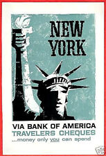 Bank of America 1958 Ad ~ Travelers Cheques Checks NEW YORK Statue of Liberty
