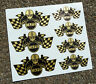 CAFE RACER Chequered Flag Helmet set stickers decals GOLD