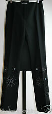 "NEW Auth. SPORTMAX Black CASHMERE Trousers S/UK6-8/FR36/US4 W28""/L33"" Wool Pants"