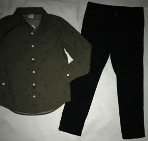 Crazy 8 by Gymboree Green Holiday Button Up Shirt Black Corduroy Pants 7 7-8