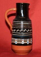 Vintage Handcrafted Painted Glazed Redware Pottery Pitcher Jug