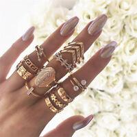 13Pcs Gold Midi Finger Ring Set Vintage Crystal Punk Boho Knuckle Rings Jewelry
