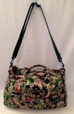 VERA BRADLEY Chelsea Green Satchel Duffle Bag Paisley Floral Plum RARE HTF