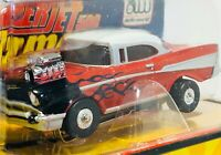 Auto World 1957 Chevy Bel Air, Flames, Chrome Blower, ThunderJet, New in Cube