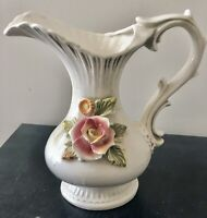 LCS Italy Pottery Pitcher Raised Flowers and Leaves