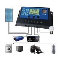 10A/20A/30A 12V/24V USB LCD Batería Solar Panel Regulador Carga Auto Controlador