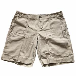 "J Jill Women's Cotton Spandex Stretch Fit Chino Shorts Size 14 Gray 36"" Waist"