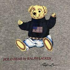 Vtg 90s Polo Ralph Lauren Polo Bear Long Sleeve T Shirt USA Flag Sweater L