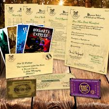 Harry Potter Hogwarts Zulassungsschreiben + Express &knight Bus Ticket,