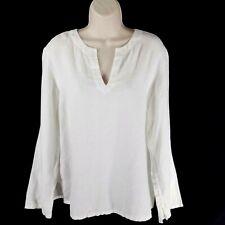 c428254b Tommy Hilfiger Size 14 Linen Tunic Top Blouse White V-Neck Long Sleeve  Popover