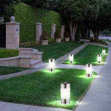 6-er Set LED Solar Lampen Edelstahl Außen Garten Weg Beleuchtung Steck Leuchten