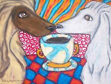 Aceo Afghan Hound Drinking Coffee Dog Collectible Signed Art Card Print Ksams