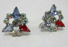 Vintage B David Multi Colored Rhinestone Earrings