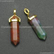 Natural Gemstones Healing Hexagonal Pointed Reiki Chakra Gold Cap Pendant Beads