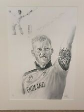 More details for ben stokes signed limited edition cricket print with proof - england cricketer