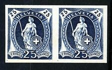 "SWITZERLAND 1882 to 1907 The ""Paris"" Trial Colour Imperforate PROOF 25c. Blue"
