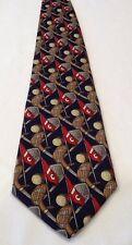 Mens Tie Alynn Neckwear GOLF 100% Silk USA Navy Blue Red Brown