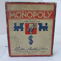 1935 Monopoly Edition Small Blue & White Box Wood pieces *No Game Board*