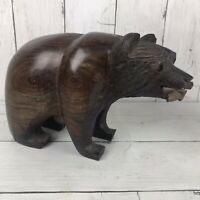 """Hand Carved Ironwood Grizzly Bear With Fish Figurine Wood Carving 8.5"""" L 3.5 Lbs"""