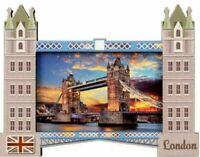 London Fridge Magnet Tower Bridge Montage England British Souvenir Gift Wood