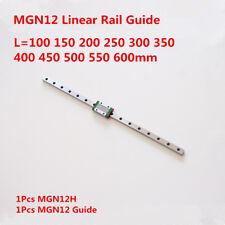 12mm Miniature Linear Rail Guide Mgn12 100 600mm Mgn12h Sliding Block Cnc