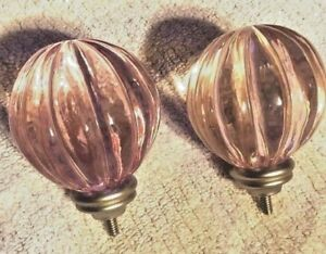 Pottery Barn Kids pink fluted finial set of 2