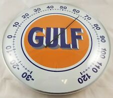 GULF CLASSIC BLUE ORANGE LOGO GASOLINE OIL ROUND DOME ADVERTISING THERMOMETER