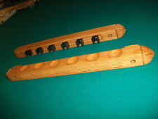 Pool Stick Rack Oak Wood Wall Mount 6 Cue Billiard Holder Bar Pub Game Room Hang