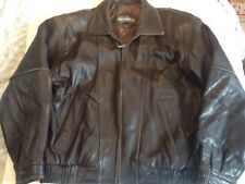 Vintage Members Only Leather Jacket Dark Brown Cafe Racer Bomber Style Mens SZ L