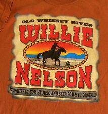 WILLIE NELSON Old Whiskey River Men Country Music Orange Beer Horses XL T-shirt