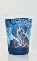 Wolf at the full moon juice glass, water cup, decoupage handpainted giftidea
