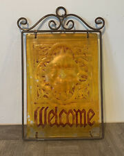 Vintage Welcome Faux Stained Glass Sign Glassy Yellow Sunny Sun Hanger Hanging