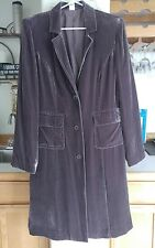 Women's Garnet Hill Purple Velvet Dress Coat Jacket Lined Goth Diva 14