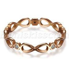 Women's Charm Stainless Steel Love Infinity Symbol Design Ring Band Promise Gift