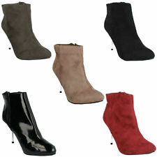 SPOT ON F5910 LADIES POINTED TOE SLIM MID HEEL STYLISH EVENING ANKLE BOOTS SHOES