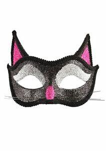 ADULT CAT GLITTER EYE MASK HORROR HALLOWEEN FANCY DRESS PARTY FACE MASK