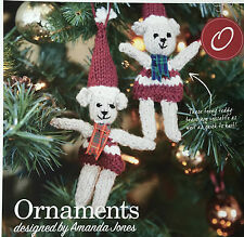 KNITTING PATTERN Teddy Bear Christmas Hanging Tree Ornaments Hat Festive PATTERN