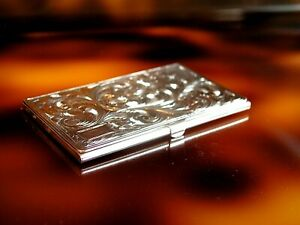 antique silver 800 card case hand etched