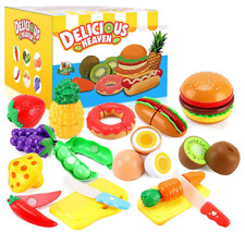 33Pcs Cutting Pretend Play Food Toys for Kids Kitchen Set Playset Accessories BP