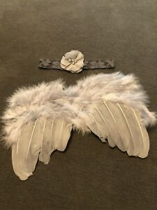 Newborn Baby Infant Grey Feather Angel Wings & Headband Photo Photography Prop
