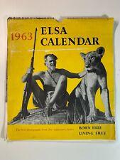Vintage 1963 Elsa Calendar Born Free Living Free