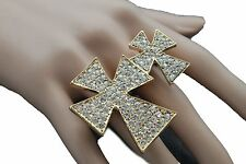 Women Gold Ring Fashion Metal Double Finger Cross Elastic Band Silver Rhinestone